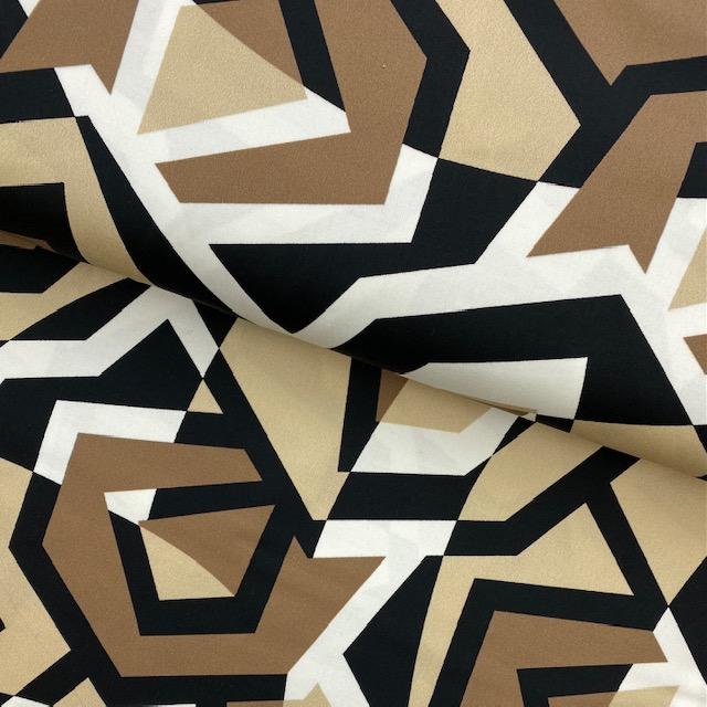 Viskose Satin, beige/schwarz. Art. 8510-377