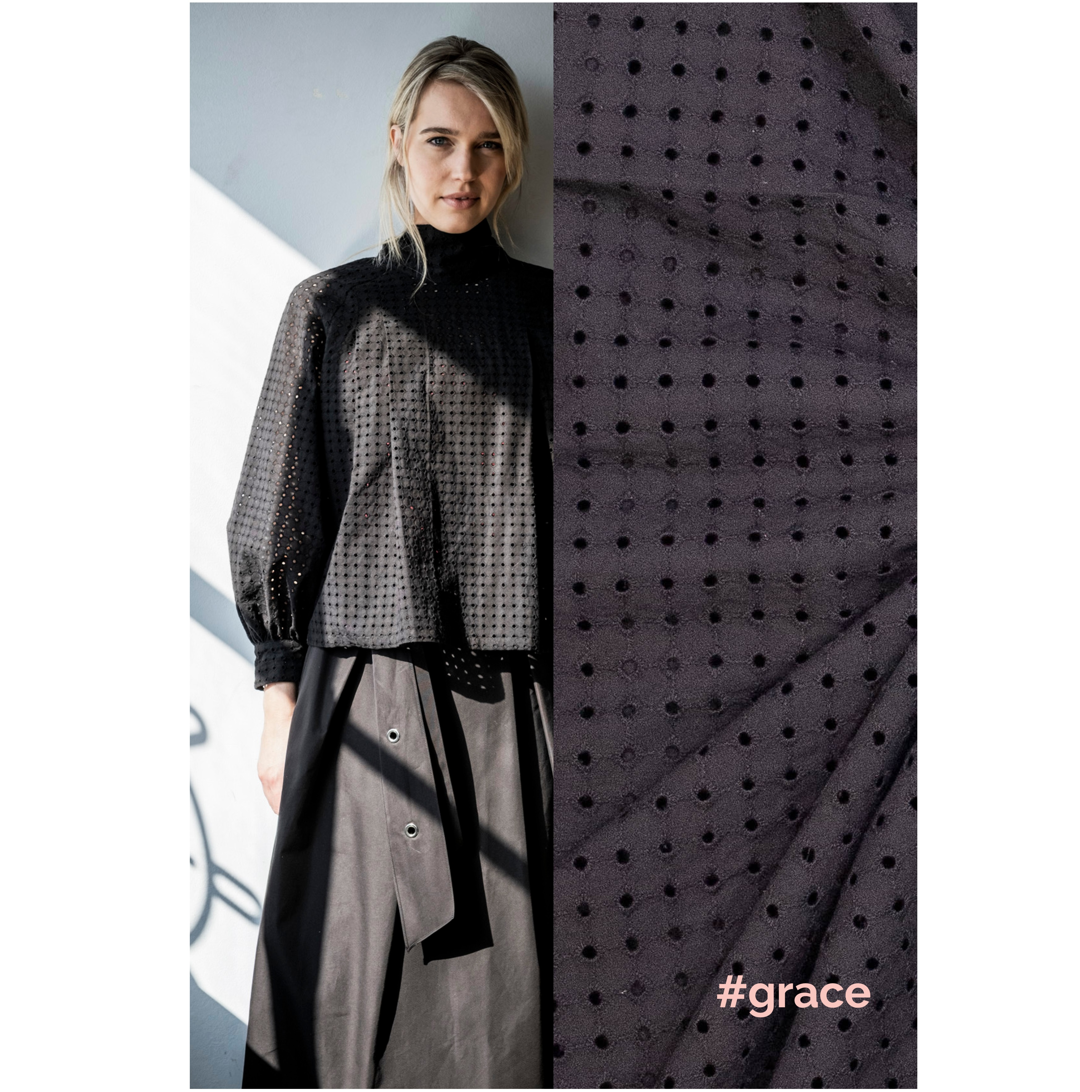 Fibre Mood #Grace, Baumwolle Stickerei, schwarz. Art. FM310125