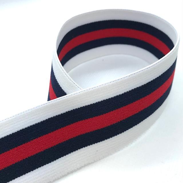 Gummiband, 4 cm, Streifen, weiß/dunkelblau/rot. Art. 040-115