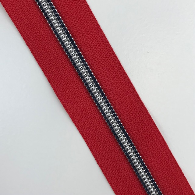 Endlosreißverschluss Meterware 5 mm, Union Knopf, Maritim, rot. Art. 4521-48