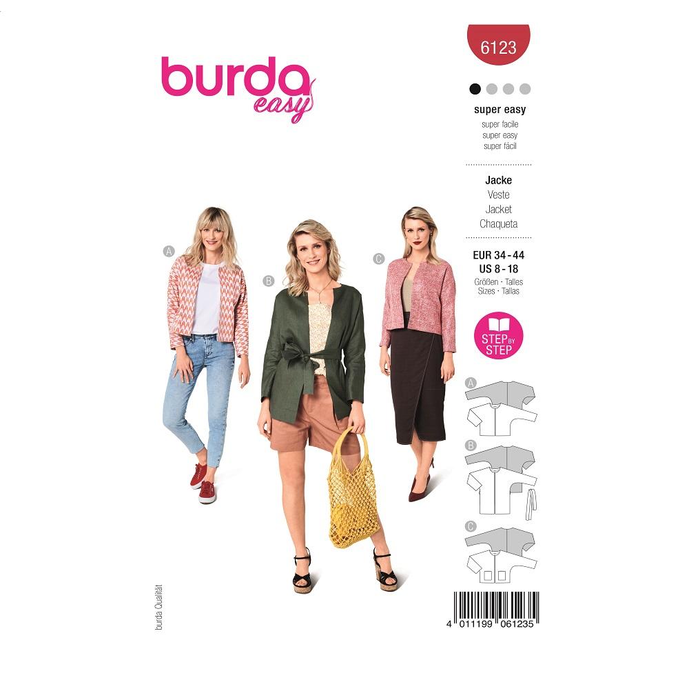 Kragenlose Jacke in verschiedenen Variationen. Burda #6123