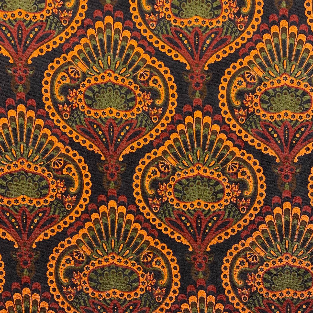 Frottee-Stretch, Paisley, schwarz/rot/grün. Art. 458021.31