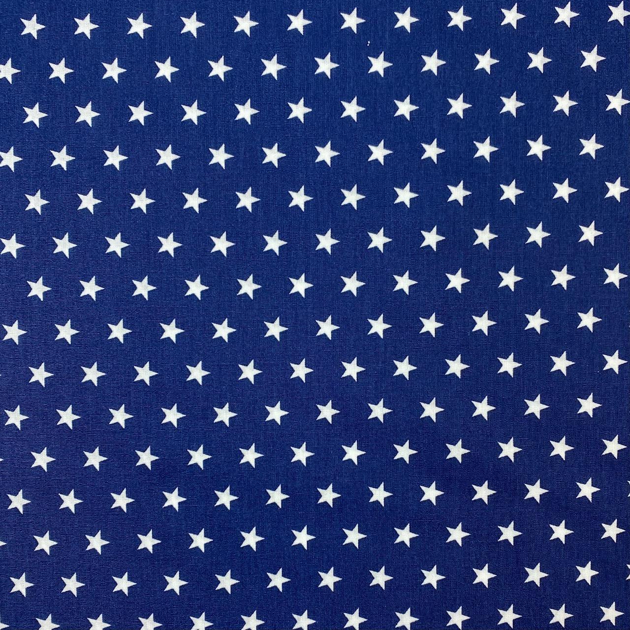 Baumwollpopeline, Sterne, dunkelblau. Art. SW11378