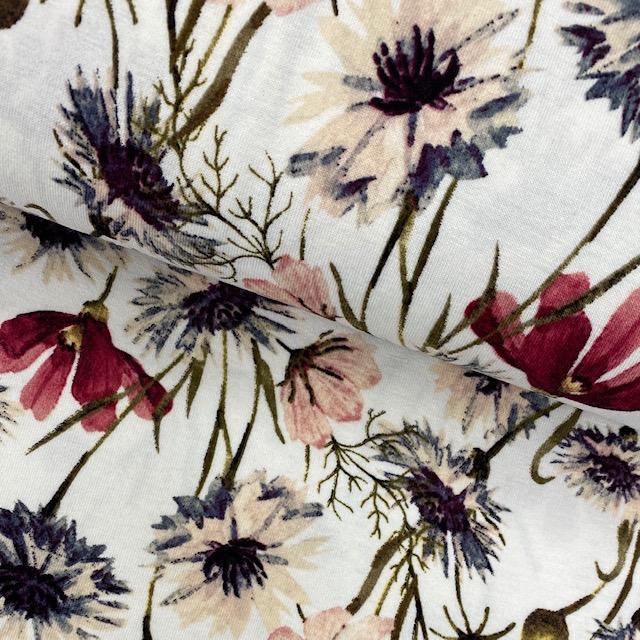 Viskosenjersey, Blumen, weiß. Art. 36781.50