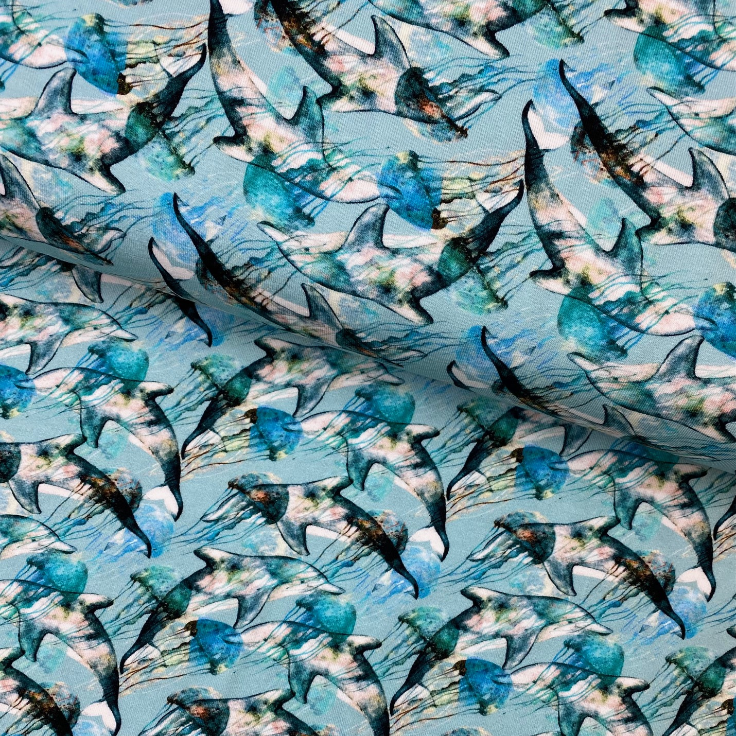 Baumwolljersey, Digital Druck, Delphine, blau.  Art. 4831/1203