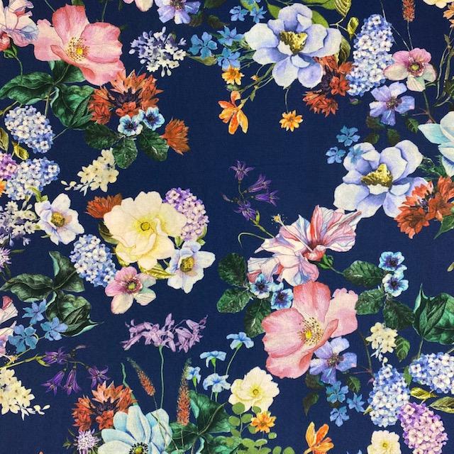 Viskose Stoff, Blumen, Digital Druck, blau. Art. 922368