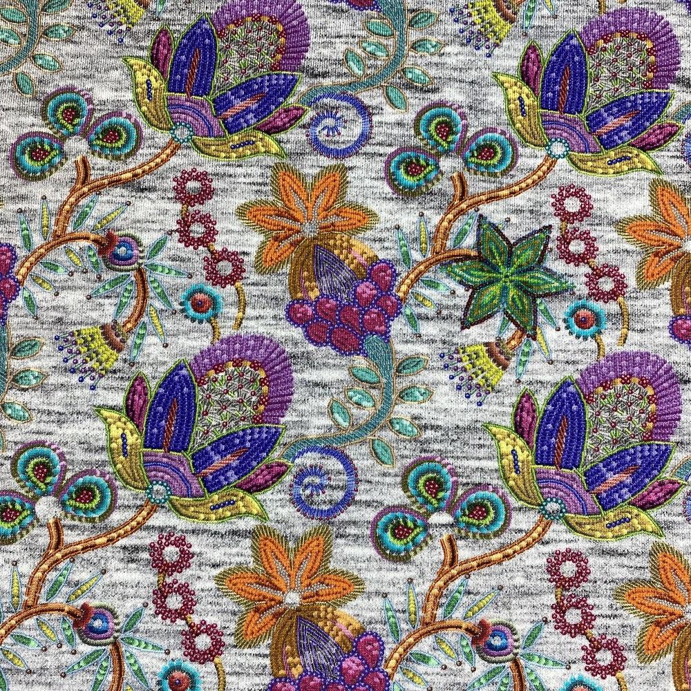 French Terry, Batik Blumen. Art. KC8256-001