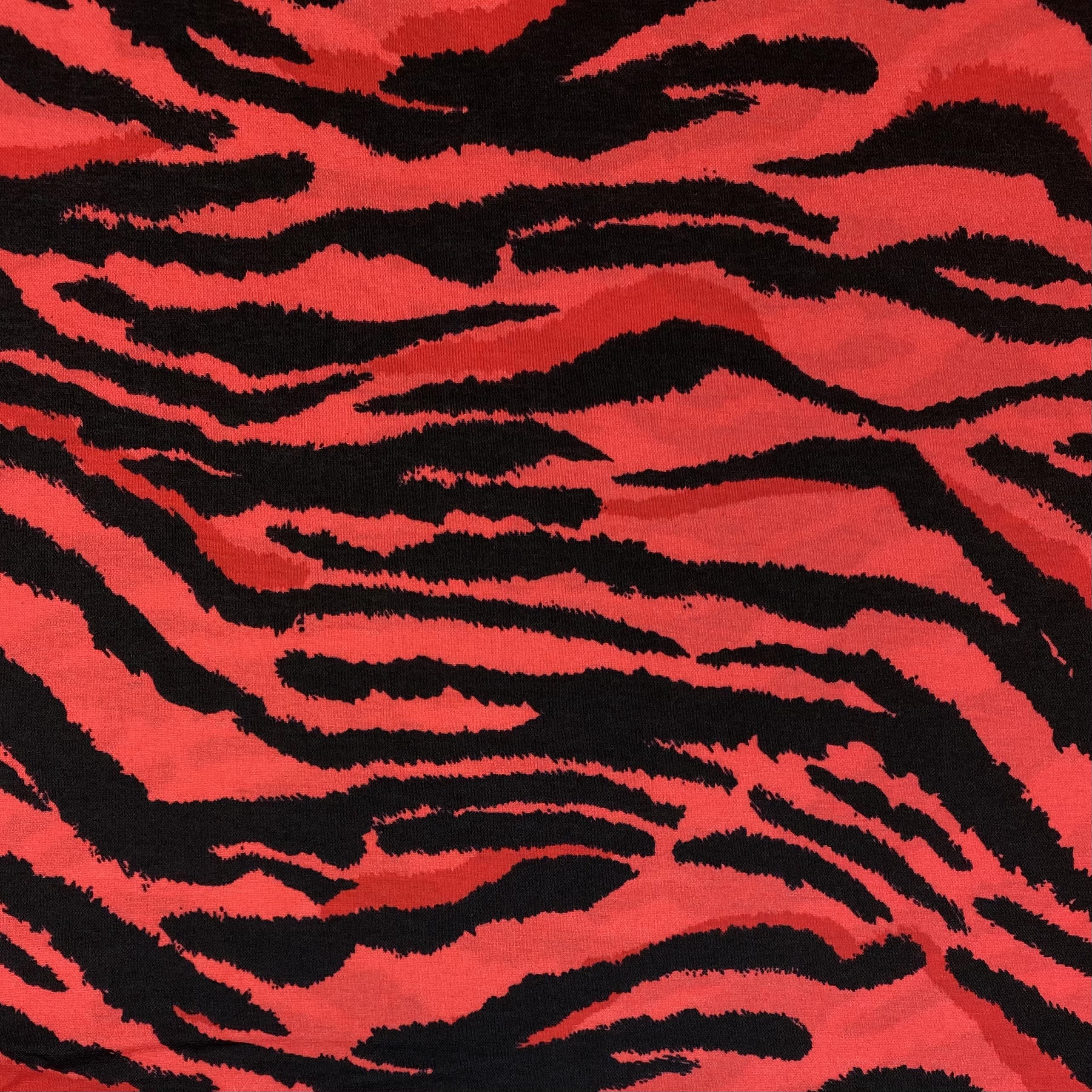 Viskosenstoff mit Elasthan, Lino rot/schwarz. Art. PC1725