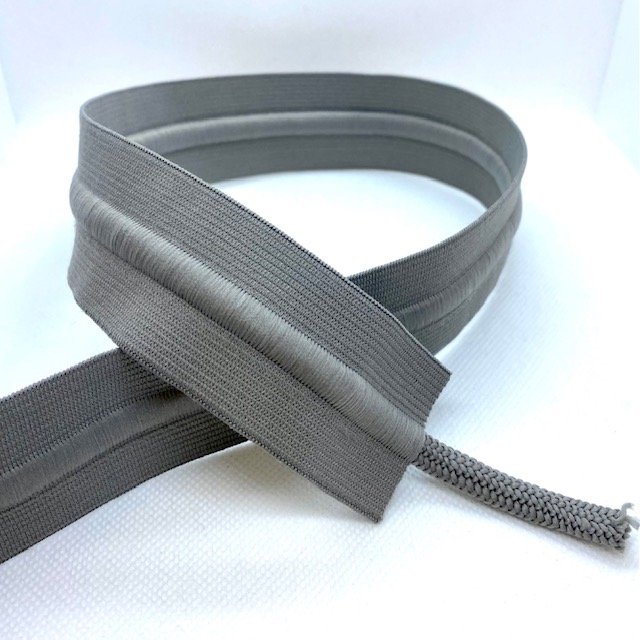 Gummiband 40mm, mit Kordel grau. Art. 691038-76