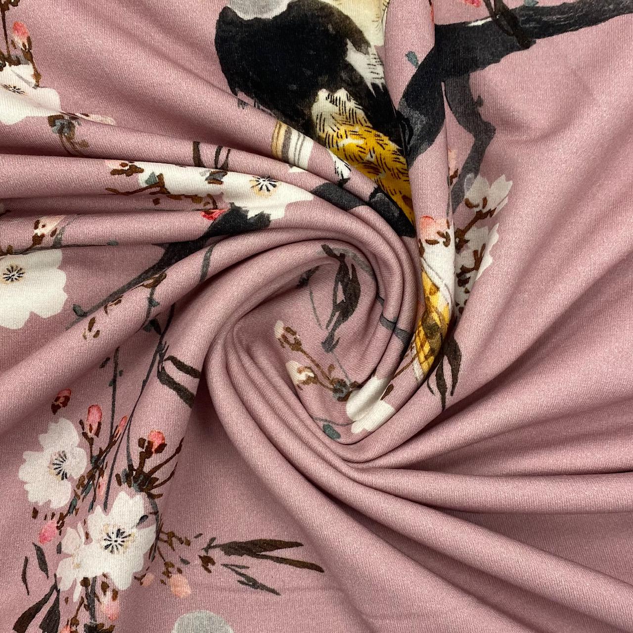 Sweat French Terry, angeraut, Wintervogel, rosa.  Art. 924640.11