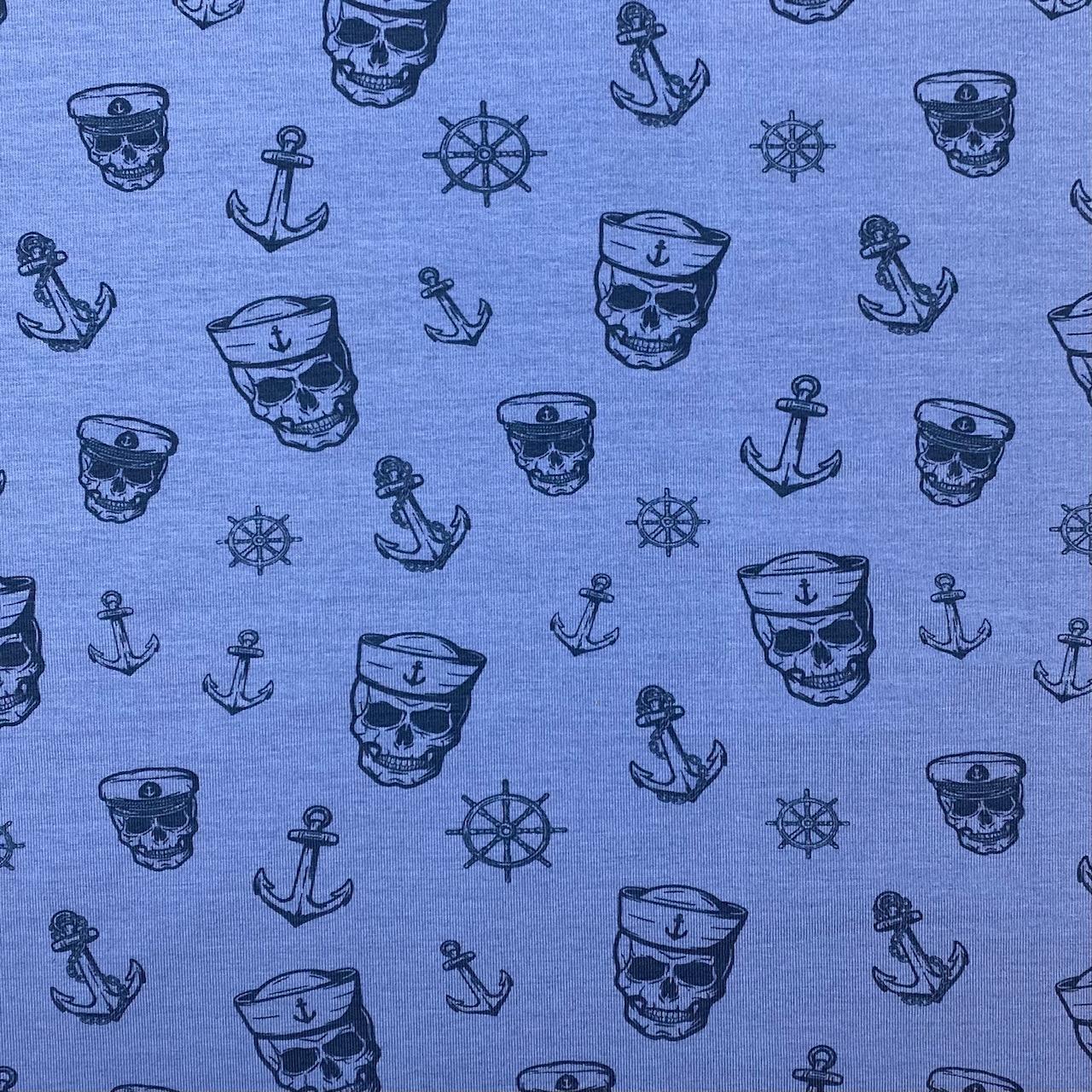 Baumwolljersey, Piraten, jeansblau.  Art. 4830/1101