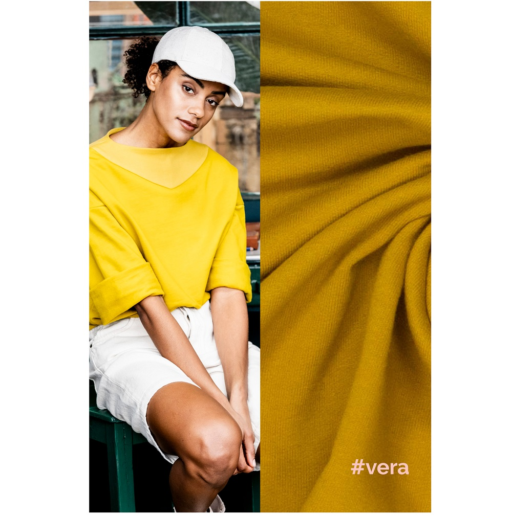 Fibre Mood #Vera, Sweatstoff angeraut, curry. Art. FM997241
