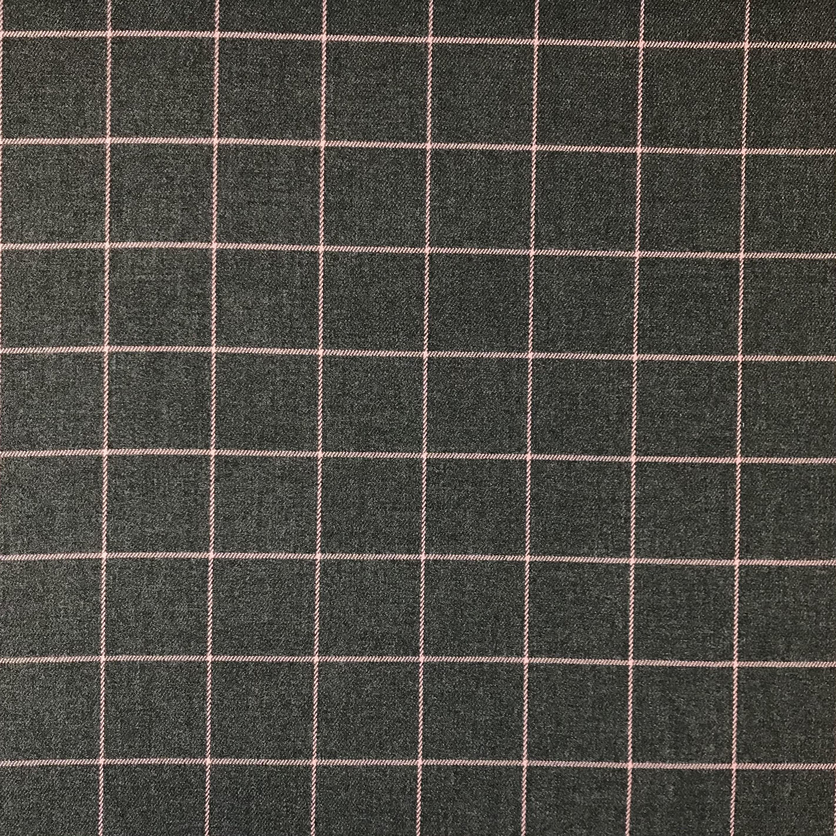 Hosen- & Anzugstoff Viskosenmix, Karos, dunkelgrau meliert/altrosa. Art. 05202.003
