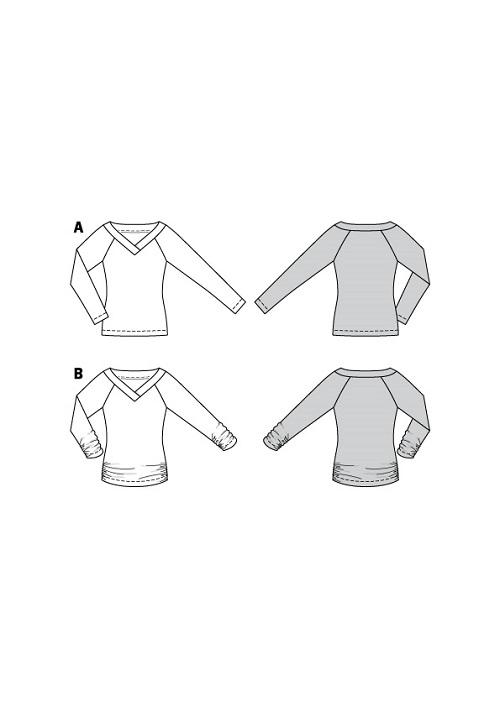 Shirts mit V-Ausschnitt und Ärmelraffung #6102