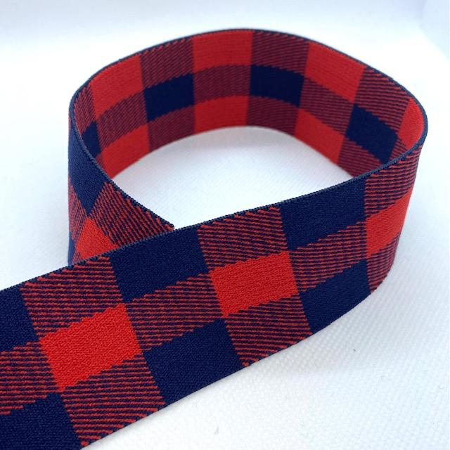 Gummiband, 2 cm, Karomuster, dunkelblau/rot. Art. 040-0048