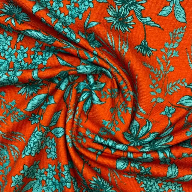 Schwerer Viskosenjersey von TopTex, Digital Druck, rot/türkis.  Art. 4628-01