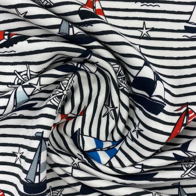 French Terry von Fräulein von Julie, Streifen&Segelschiffe. Art. FVJ-2462