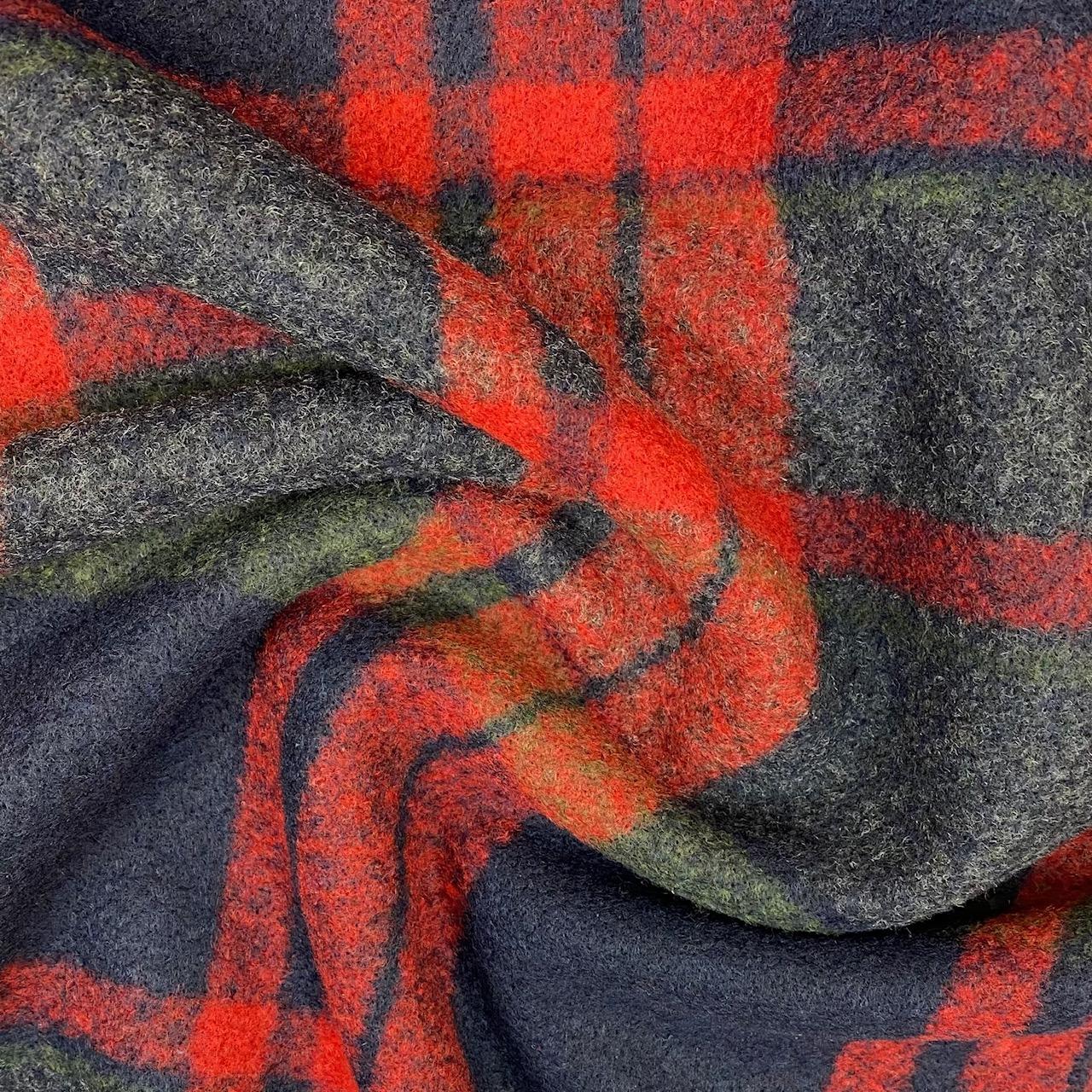 Mantelstoff Woll-Mix, Karo, rot. Art. Q22212-228
