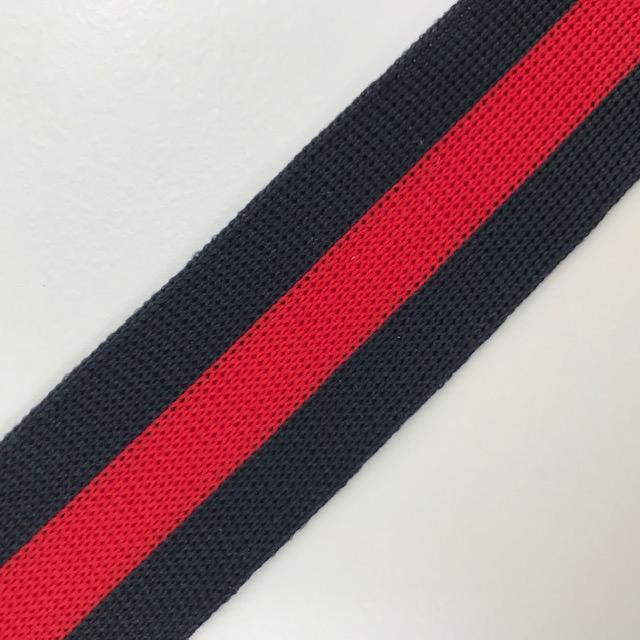 Galonband, Streifen,  dunkelblau/rot.  Art. SW11685