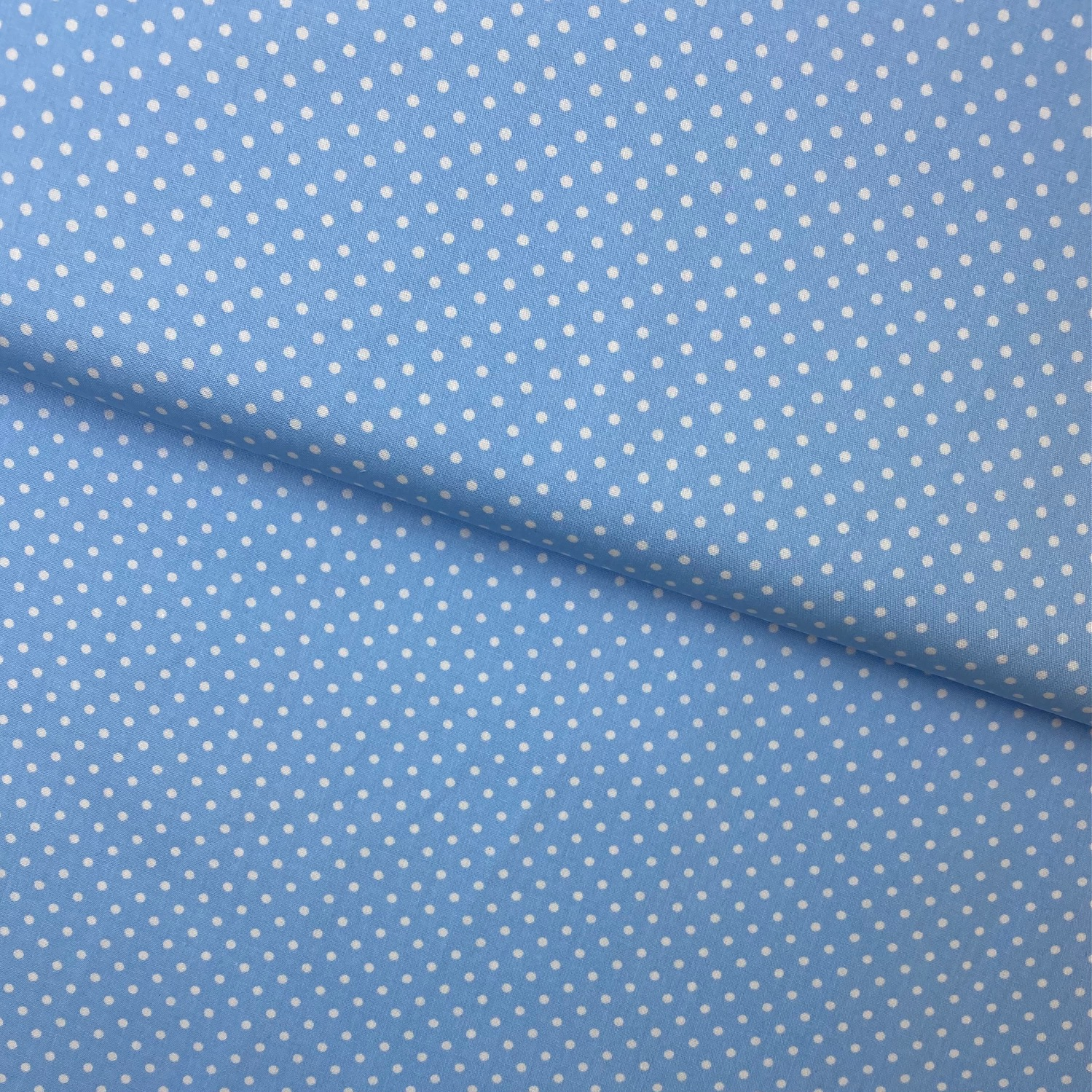 Baumwollpopeline, Punkte, hellblau. Art. SW11367