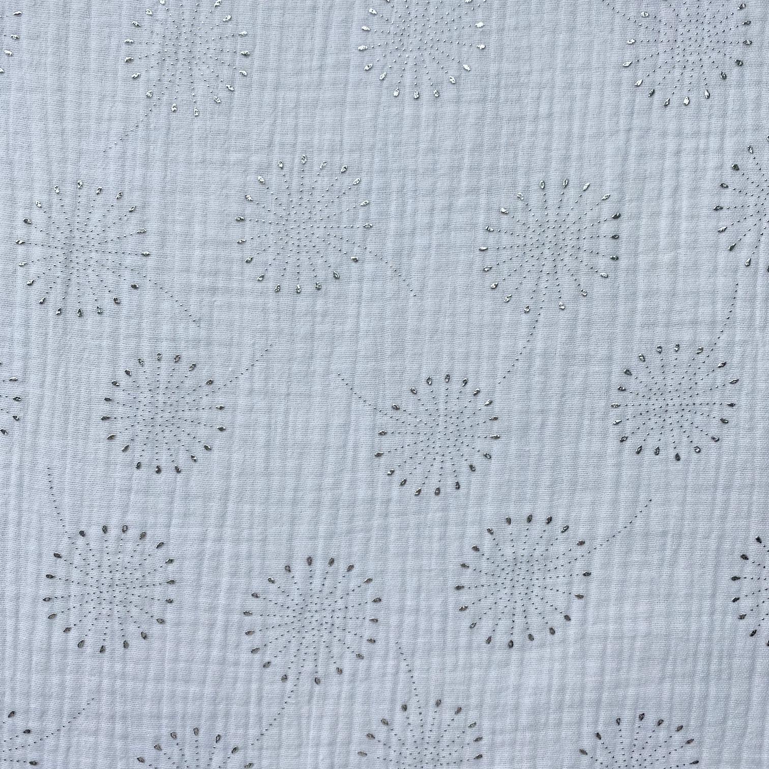 Musselin, Pusteblumen in Glitzerpunkten, weiß. Art. 4885/50