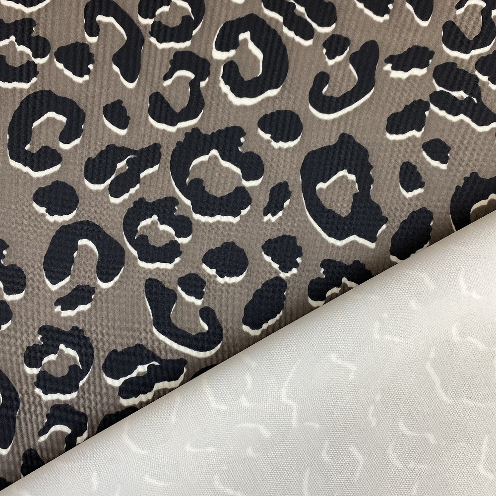 Scubajersey, Animalprint, taupe/schwarz. Design-Linie.  Art-J1230-664