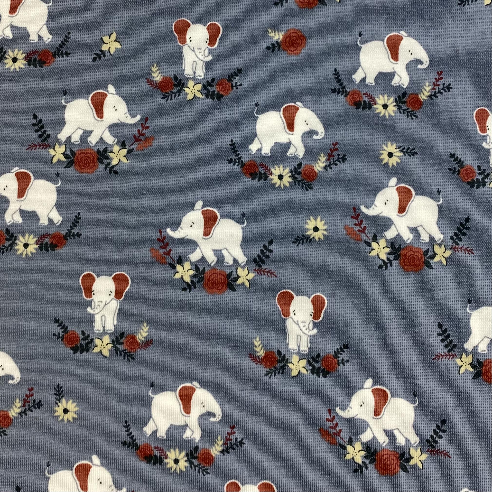Baumwolljersey, Elefanten. Art. KC1501-003
