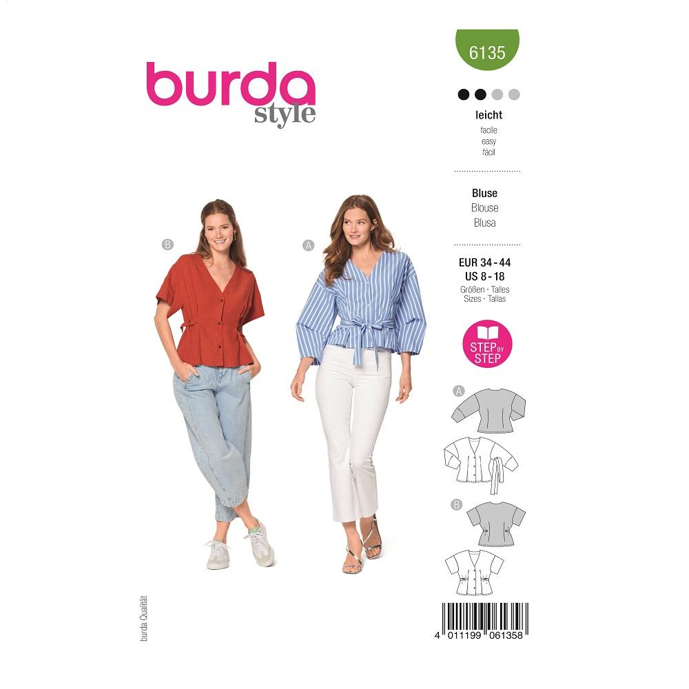 Blusen mit V-Ausschnitt. Burda #6135