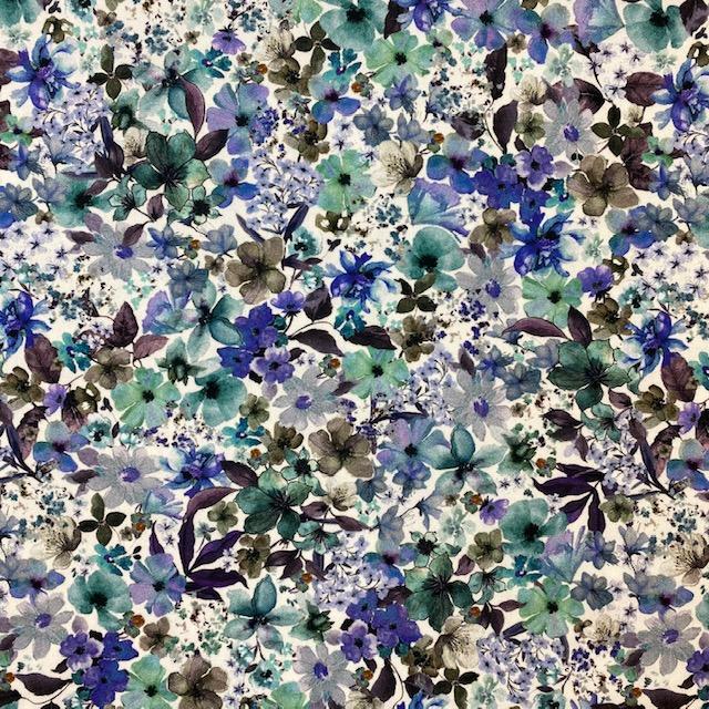 Baumwolle Satin, Blaue Blumen. Art. 922207