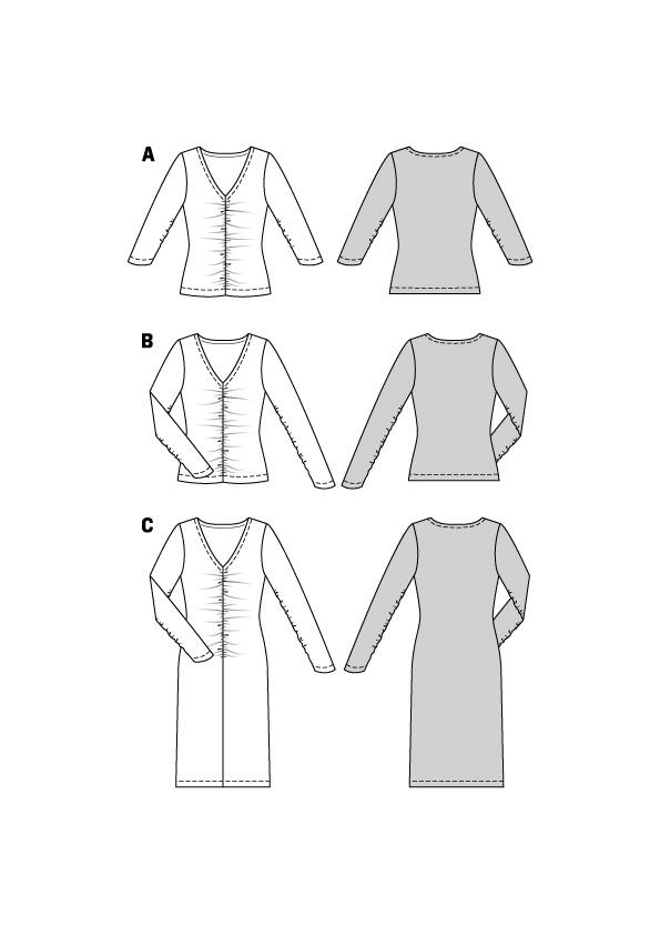 Shirts und Kleid mit Raffung #6113
