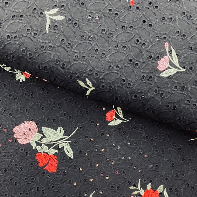 Feiner Baumwollbatist Stickerei, schwarz. Art. 411010.10