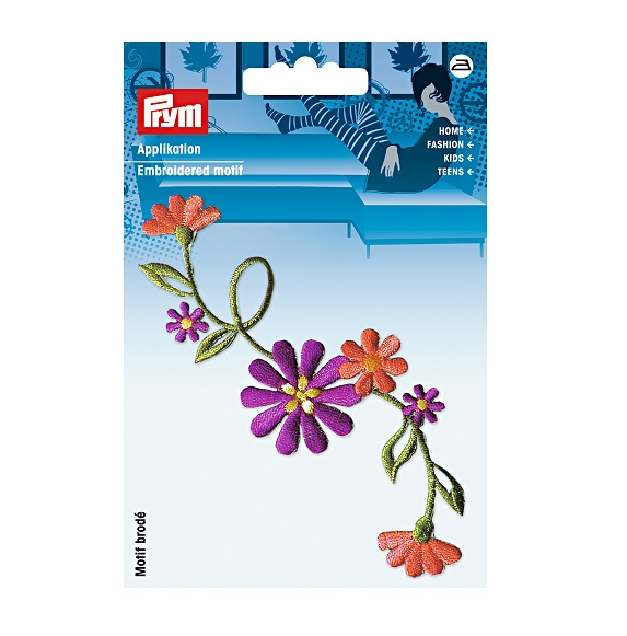 Applikation Blumenranke groß lila/terrakotta, Prym. Art. 926164