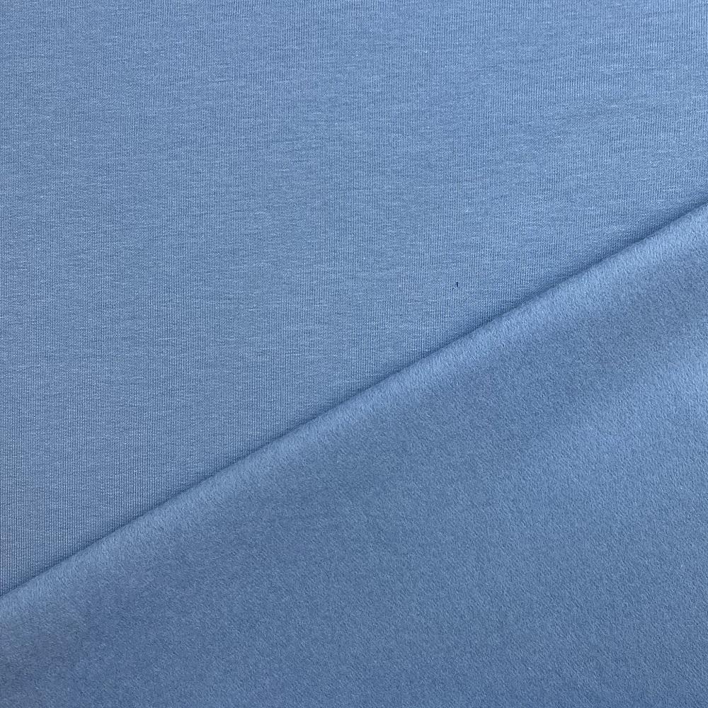Soft French Terry/Sweatstoff angeraut , hell jeansblau, uni. Art. 4283/401