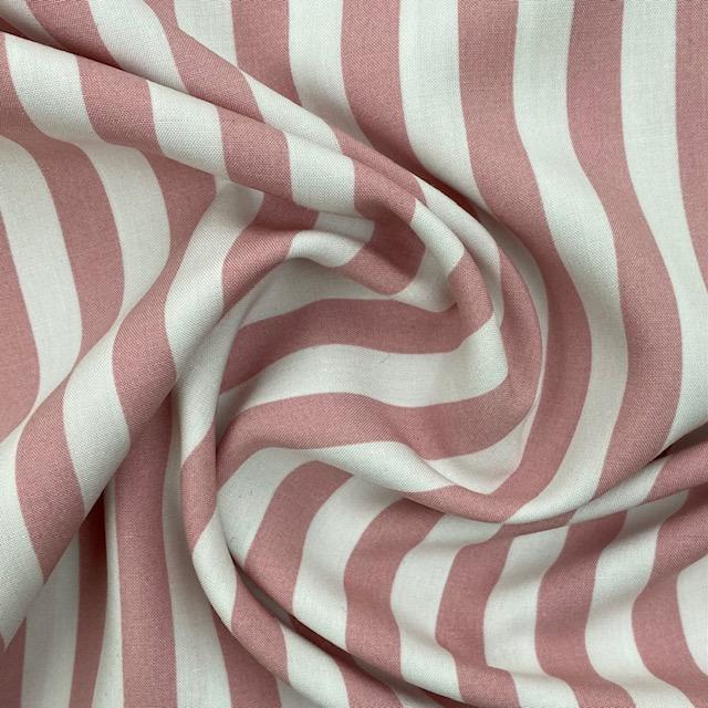 Viskose Stoff, Streifen, rosa/weiß. Art. 320050.71