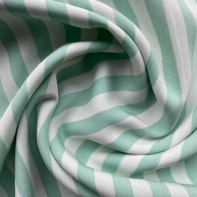 Viskose Stoff, Streifen, mint/weiß. Art. 320050.73