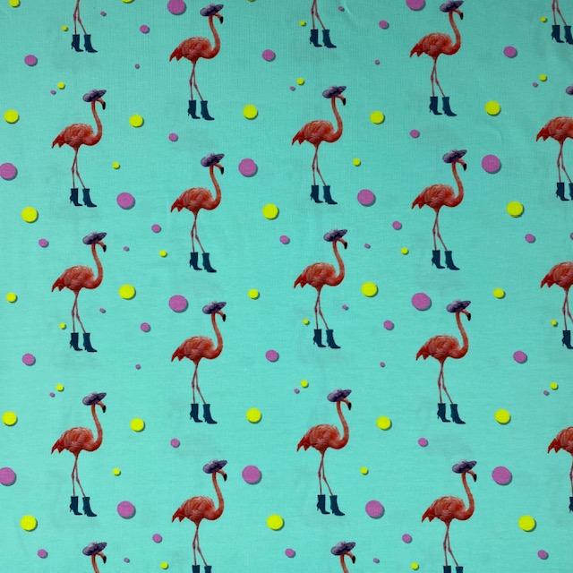 Baumwolljersey, Flamingos, smaragd. Art. 17216-99
