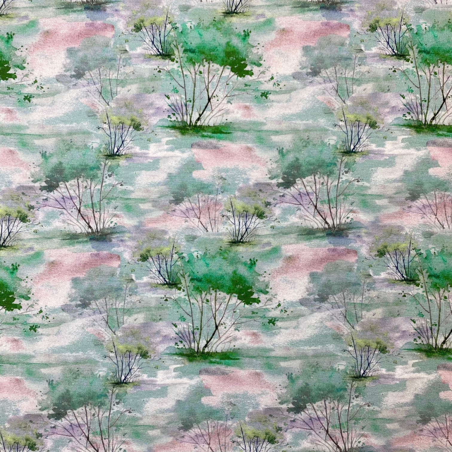 Viskosenjersey, Digital Druck, Bäume, mint.  Art. 4865/426