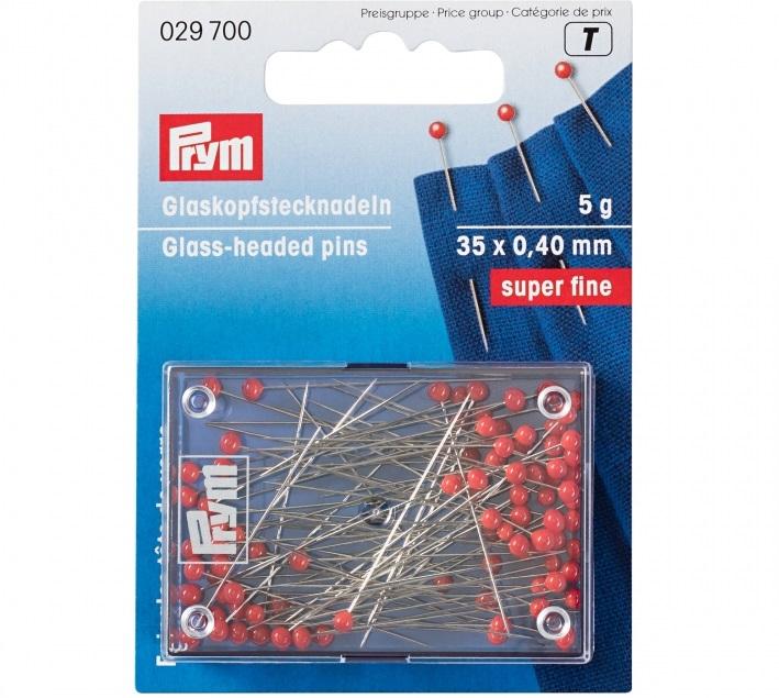 Glaskopfstecknadeln rot, Prym - Art. 029700