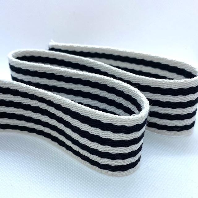 Baumwollgurtband 40 mm, Union Knopf, schwarz/weiß gestreift. Art. 069-040