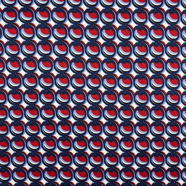 Baumwolle Satin, rot/dunkelblau. Art. 1844-015