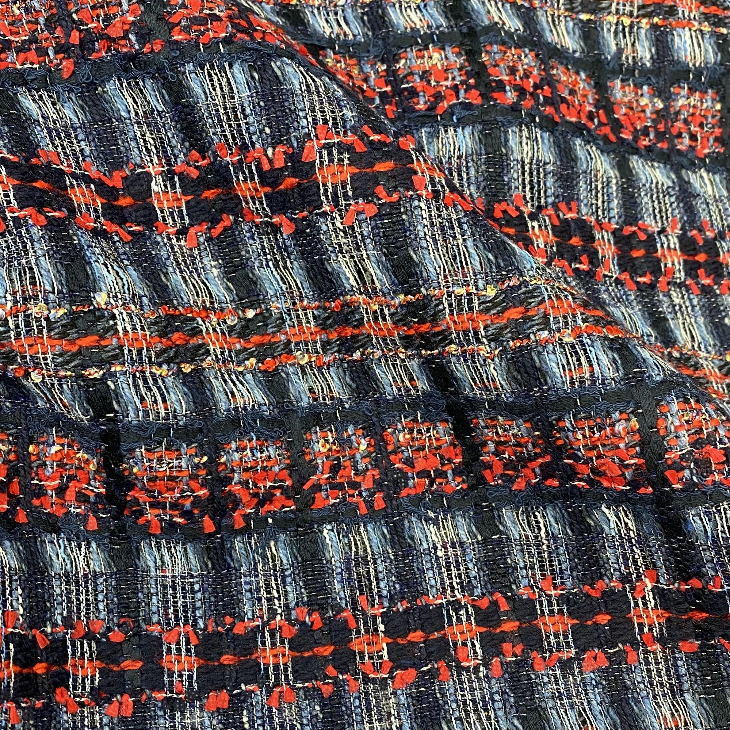 Bouclé Stoff Tweed, jeans/rot. Art. SW11203