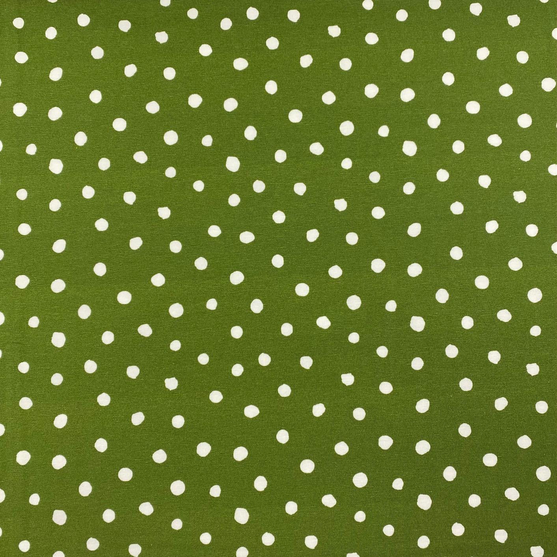 Baumwolljersey, FVJ, Punkte, moosgrün. Art. FVJ-2524.004