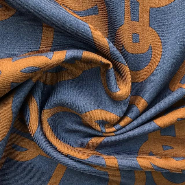 Viskose Twill, jeansblau/rost. Art. 8508-003