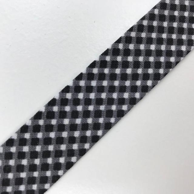 Baumwollpopeline - Schrägband, Raute, schwarz/weiß. Art. SW11678