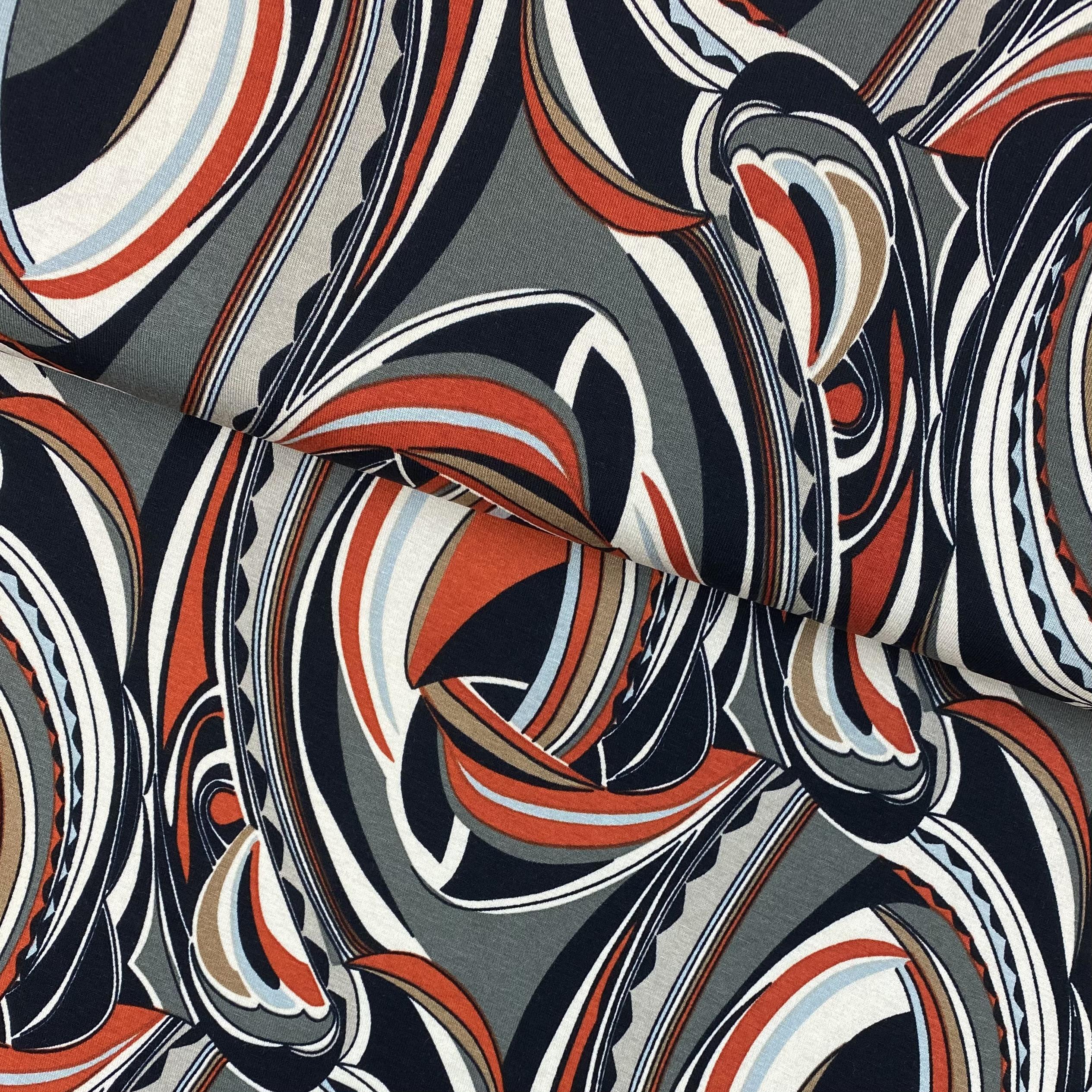 Viskosenjersey, Digital Druck, khaki. Art. PC1733-127