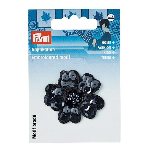 Applikation Paillettenblume schwarz. Art.926182