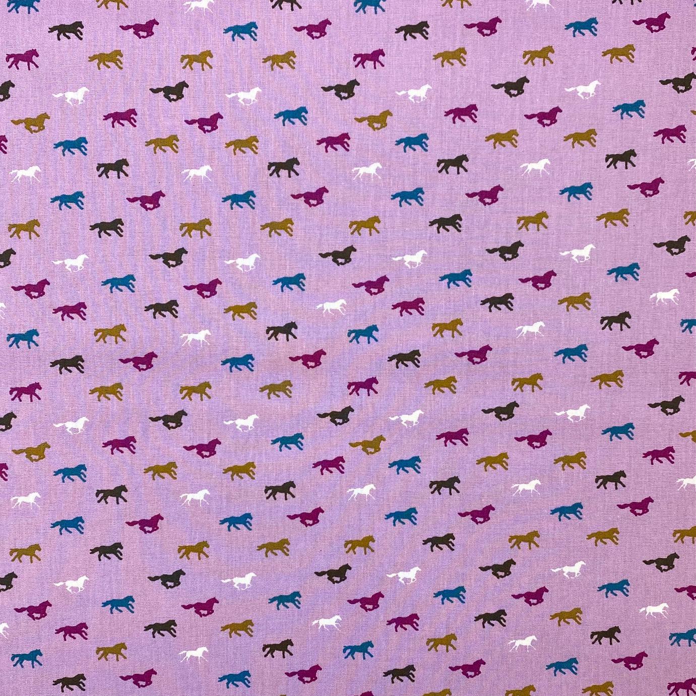 Baumwollpopeline, Pferde, helllila. Art. SW11394