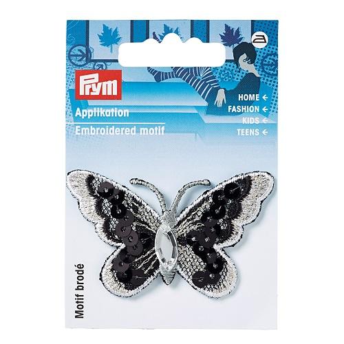 Applikation Schmetterling, schwarz/weiß. Art. 926369