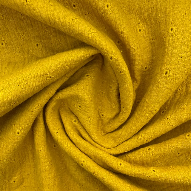 Musselin Lochstickerei kleine Blüten, senf. Art. 4884/434