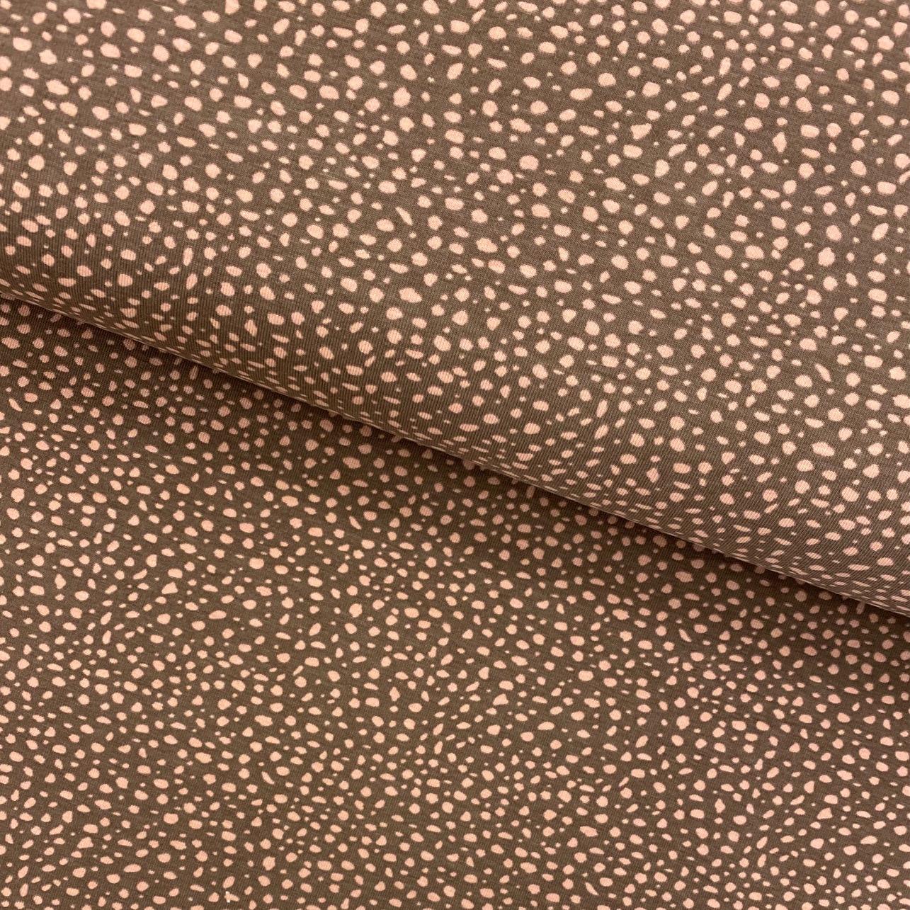 Baumwolljersey, Punkte, rosa-braun. Art. 4949-1519